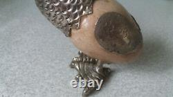 Pair Vintage Silver Plated / White Metal Marble / Onyx Egg Decorative Birds