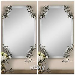 Pair Vintage Style Home Decor Beveled Wall Mirror Contemporary
