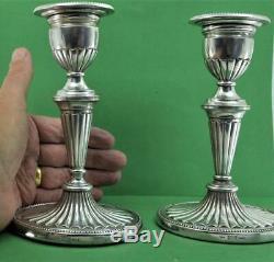 Pair Vintage Svend Toxvaerd Danish 925 Silver Candlesticks 17 cm x 10.5 cm