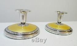 Pair Vintage Yellow Guilloche Candle Holders Sterling Solvvareindustri Norway