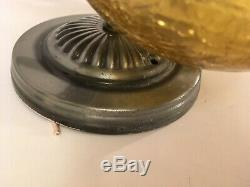 Pair Vtg Mid Century Silver tone Wall Sconce Globe Light Fixtures Amber Glass