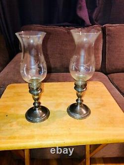 Pair antique / vtg old STERLING silver candle sticks etched shades