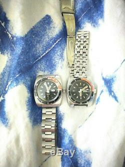 Pair of 1974 Caravelle Automatic Devil Divers with Dual Date Windows