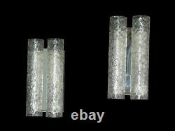 Pair of 2 VTG Doria Wall Lights frosted glass tubes, Germany, 1960's