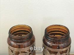 Pair of 2 Vintage Taxco Mexican Floral Sterling Silver Overlay Amber Glass Jars