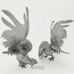 Pair of Antique Vintage Silver Plate Fighting Cockerel Rooster Figures Ornament