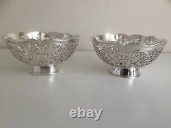 Pair of Fabulous Vintage Sterling Silver Bon Bon Dishes / Bowls Sheffield 1999