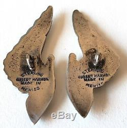 Pair of Large Vintage Mexican Silver ButtonsHubert Harmon Winged HandsSigned