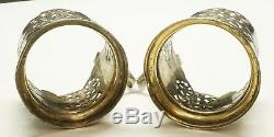 Pair of Russian. 875 Silver Glass Cup Holders / Vintage Niello Gilt 155.5g