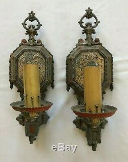 Pair of Vintage Art Deco Cast Aluminum Metal Single Candle Wall Sconces