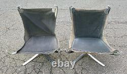 Pair of Vintage Chrome Falcon Sigurd Ressell Chairs