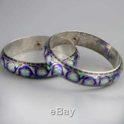 Pair of Vintage Cloisonne Chinese Export Bangles Bracelets Silver x 2 Cloisonné