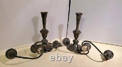 Pair of Vintage Gorham Silver Candelabra Candlesticks 3 Candle/Light 12.5 Tall