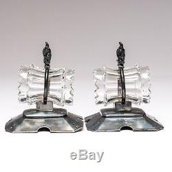 Pair of Vintage Meriden Silver Plate Napkin Rings Pheasant & Crystal Pattern 244