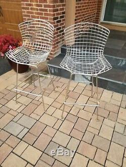 Pair of Vintage Metal Basket Design Bar Stools withCushions