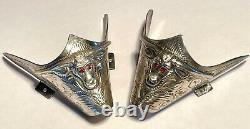 Pair of Vintage Mexican Sterling Silver Cowboy Western Boot Tips Steer Head