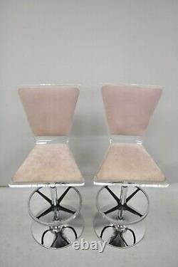 Pair of Vintage Mid Century Modern Lucite Swivel Bar Stool Chair by Haziza
