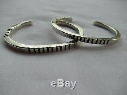Pair of Vintage Native American Sterling Silver Chiseled Bracelets
