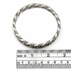 Pair of Vintage Navajo Handmade Solid 925 Silver Twisted Rope Bangle Bracelets