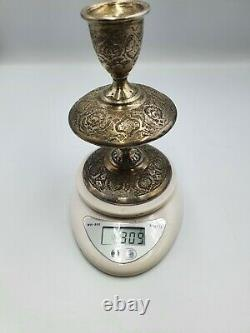Pair of Vintage Persian Islamic Solid Silver Candlesticks