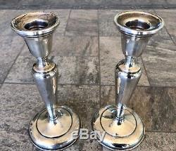 Pair of Vintage Preisner Sterling Silver Weighted Candlesticks #722 680 grams