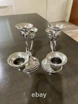 Pair of Vintage Revere Silversmiths Weighted Sterling Double Candelabras No Res