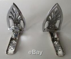 Pair of Vintage Sterling Silver Deco Dress Clips With Clear Paste Stones