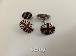 Pair of Vintage Sterling Silver & Enamel Union Jack Cufflinks