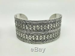 Pair of Vintage Sterling Silver Middle Eastern Tribal Wide Bangle Cuff Bracelets