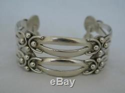 Pair of Vintage Taxco Sterling Silver Awesome Cuff Bracelets