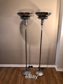 Pair of Vtg Chrome Faries Torchiere Floor Lamps Art Deco Machine Age Nessen Era