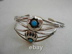 Pair of Vtg Native American Southwest Silver Turquoise Cuff Bracelets 701414