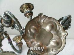 Pair of Vtg Reed & Barton 5 Arm Silverplated Candelabra #741 Candle Holders 9.5