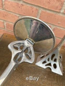 Pair of vintage Jugendstil/Art Nouveau style silvered brass candlesticks