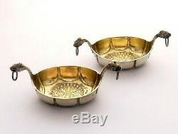 Pair of vintage or antique silver Viking Ships salts by David Andersen of Norway