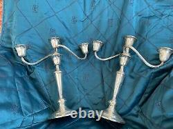 Pair of weighted Sterling Silver Vintage Gorham 3 Arm Candlesticks # 808/1