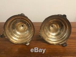 Pair sterling silver candlesticks candelabra Ornate 925 Vintage Antique