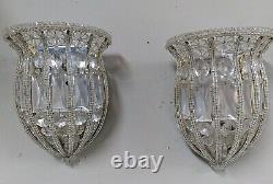 RARE Vintage Pair SHERLE WAGNER French silver Crystal Bead Light sconce Fixtures