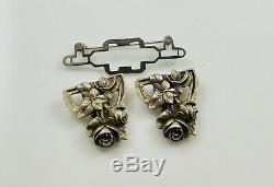 RARE Vintage Signed Jo Michels Sterling Silver Roses Duette Pin Pair Fur Clips