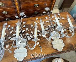 Rare PAIR Vintage MAISON Baguès Silver Gilt CRYSTAL Two Arm Jansen Sconces