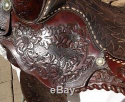Rare Pair O Dice 15 1/2 Vintage Silver Laced Arabian Style Western Saddle