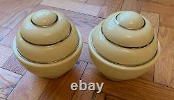 Rare Pair Of Art Deco Lamp Shades, Silver Edging, Vintage Retro, Immaculate