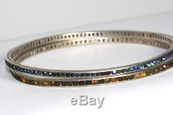 Rare Pair Vintage Antique Art Deco Sterling Silver Eternity Bangle Bracelet