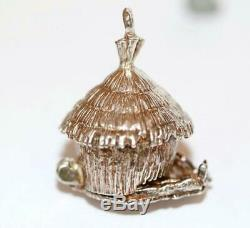 Rare Vintage Grass Hut / Barn Opening To Couple Sterling Silver Charm Sz Large