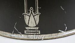 Rare Vintage Stiffel Drum Lamp Shade Pair Mid Century Neoclassical Black Silver