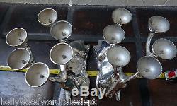 Reindeer silver antler candle holder 2x left right pair metal candelabra vtg