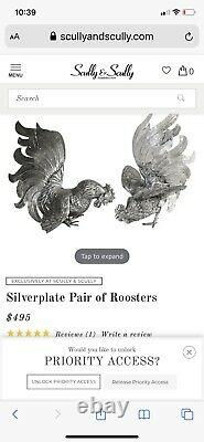 Scully and scully Vintage Italian Silver Plate Pair Fighting Roosters