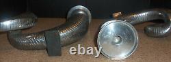 Set Pair 2 Large Ram Horn Shofar Metal Pillar Candle Holder Candlestick Silver