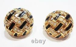 Signed SWAROVSKI SWAN Vintage Lot 3 Pair Clip Earrings Crystal Silver Gold Tone