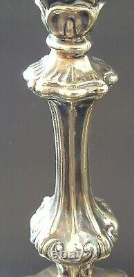 Silver plate electroplate vintage Victorian antique pair tall candlesticks